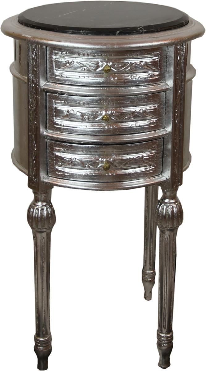 Casa Padrino Barock Beistelltisch mit Marmorplatte Silber / Schwarz Ø 42 x H. 73 cm - Handgefertigte kleine runde Kommode mit 3 Schubladen 1