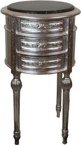 Casa Padrino Barock Beistelltisch mit Marmorplatte Silber / Schwarz Ø 42 x H. 73 cm - Handgefertigte kleine runde Kommode mit 3 Schubladen