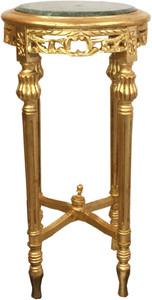 Casa Padrino Barock Beistelltisch mit Marmorplatte Gold / Grün Ø 37 x H. 71 cm - Runder handgeschnitzter Antik Stil Telefontisch Blumentisch mit wunderschönen Verzierungen