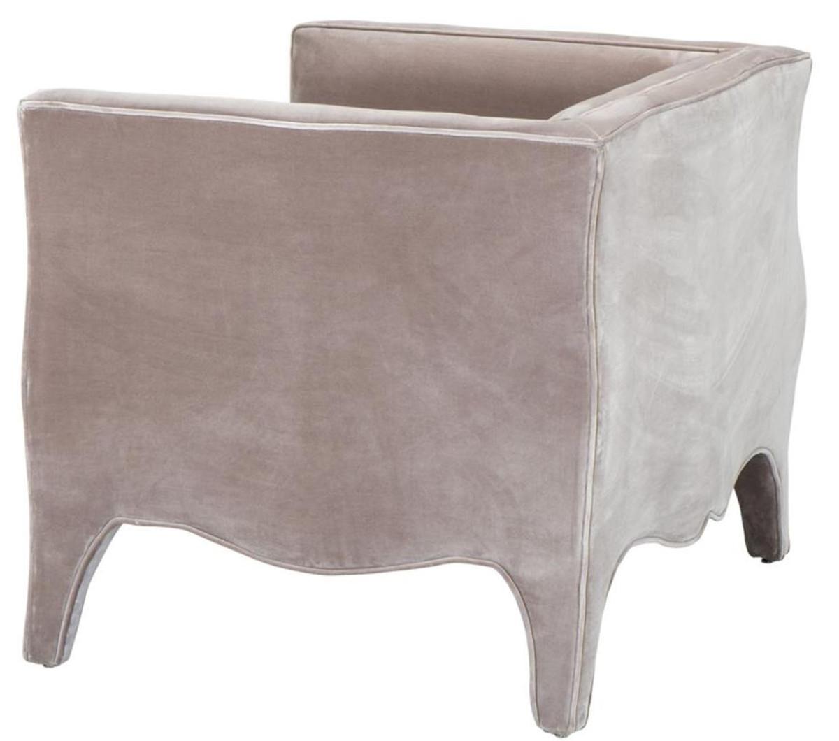 Casa Padrino Luxus Wohnzimmer Samt Sessel Grau 100 x 79 x H. 75 cm - Wohnzimmermöbel 4