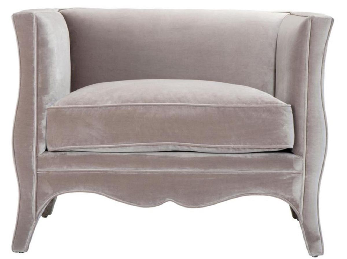Casa Padrino Luxus Wohnzimmer Samt Sessel Grau 100 X 79 X H 75 Cm Wohnzimmermobel