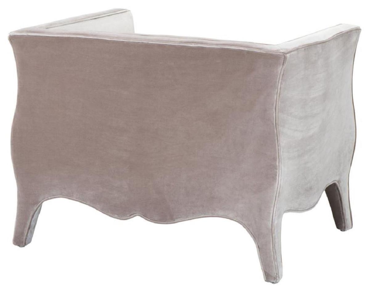 Casa Padrino Luxus Wohnzimmer Samt Sessel Grau 100 x 79 x H. 75 cm - Wohnzimmermöbel 3
