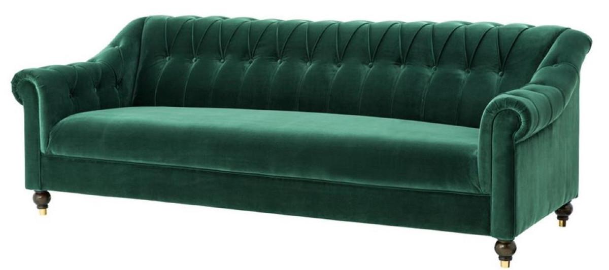 casa padrino luxus chesterfield wohnzimmer sofa gr n braun gold 230 x 90 x h 81 5 cm. Black Bedroom Furniture Sets. Home Design Ideas