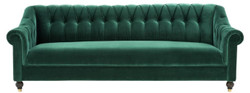 Casa Padrino Luxury Chesterfield Living Room Sofa Green / Brown / Gold 230 x 90 x H 81.5 cm - Luxury Quality