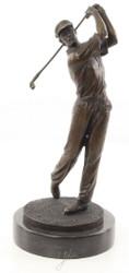 Casa Padrino Bronzefigur Golfspieler Bronze / Gold / Schwarz 14,7 x 14,7 x H. 33,2 cm - Luxus Dekofigur