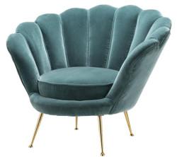 Casa Padrino designer living room armchair dark turquoise / brass 96.5 x 79 x H. 78 cm - Luxury Living Room Furniture