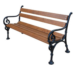 Casa Padrino Art Nouveau Garden Bench with Armrests Brown / Black 150 x 40 x H. 76 cm - Garden Furniture