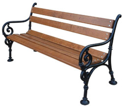 Casa Padrino Art Nouveau Garden Bench with Armrests Brown / Black 180 x 40 x H. 74 cm - Garden Furniture