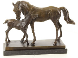 Casa Padrino luxury bronze sculpture horse with foal bronze / gold / black 44.5 x 16.7 x H. 33.5 cm - Deco Bronze Figure with Marble Base