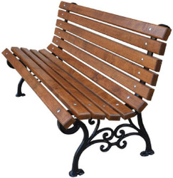 Casa Padrino Art Nouveau Garden Bench Brown / Black 180 x 42 x H. 73 cm - Bench Park Bench Wooden Bench - Garden Furniture