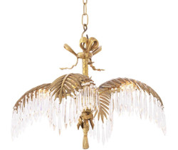 Casa Padrino Luxury Crystal Glass Chandelier Vintage Brass 65 x 65 x H. 46 cm - Luxury Quality