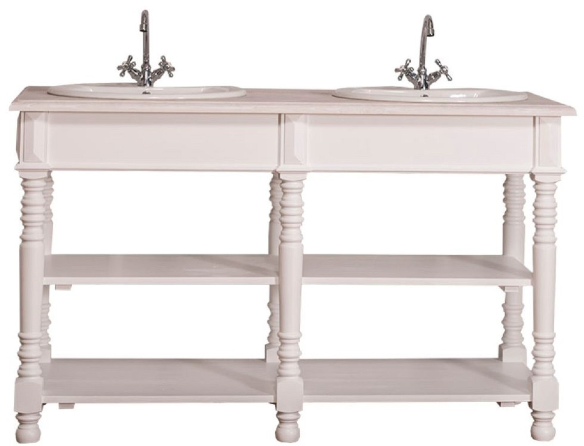 Foto Bagni Stile Country casa padrino mobile lavabo doppio in stile country bianco / grigio chiaro  150 x 54 x h. 90 cm - tavolo di lavaggio in legno massello - arredo bagno  in