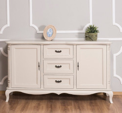 Casa Padrino country style sideboard with 2 doors and 3 drawers antique light gray 158 x 48 x H. 89 cm - Country Style Furniture