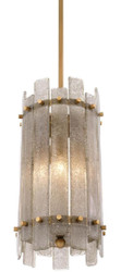 Casa Padrino chandelier antique brass Ø 27 x H. 52 cm - Round Luxury Chandelier with Hand Blown Glass