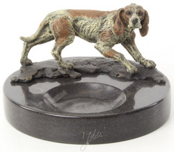 Casa Padrino luxury marble ashtray with decorative bronze figure dog multicolor / black Ø 8.2 x H. 13 cm - Luxury Quality