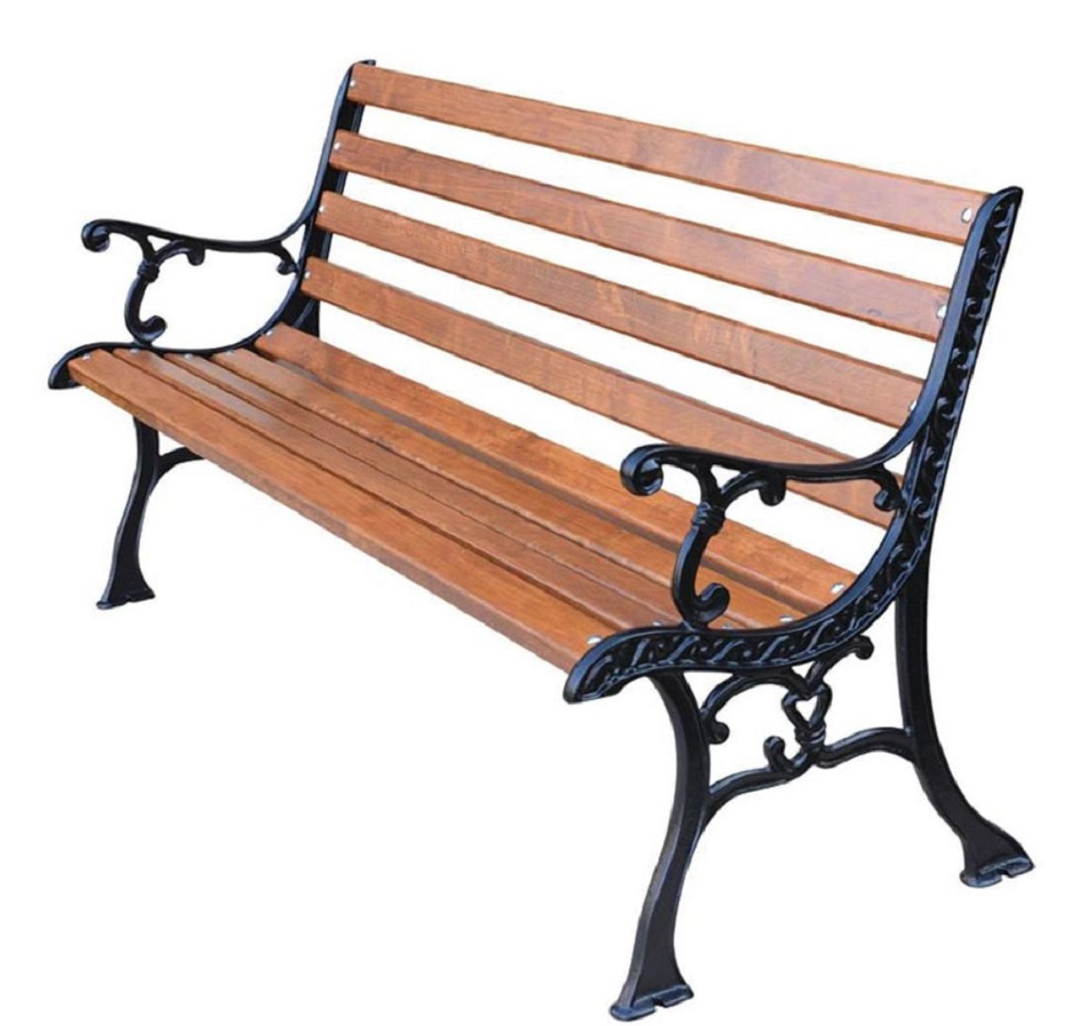 Casa Padrino Art Nouveau Garden Bench With Armrests Brown Black