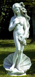 Casa Padrino Art Nouveau Garden Decoration Sculpture / Statue Venus with Shell Gray Ø 32 x H. 85 cm - Stone Figure Garden Sculpture