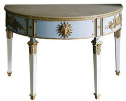 Casa Padrino Luxury Baroque Console Blue / White / Gold 150 x 75 x H. 91 cm - Handcrafted Half Round Antique Style Console Table