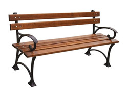 Casa Padrino Art Nouveau Park Bench Brown / Black 150 x 44 x H. 73 cm - Garden Bench with Armrests - Garden Furniture