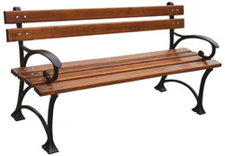 Casa Padrino Art Nouveau Park Bench Brown / Black 180 x 44 x H. 73 cm - Garden Bench with Armrests - Garden Furniture