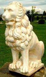 Casa Padrino luxury decorative lion sculpture beige / white 36 x 27 x H. 58 cm - Magnificent Garden Decoration