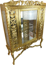 Casa Padrino Baroque Glass Display Cabinet Gold H155 x 116 x 41.5 cm Baroque Display Cabinet Display Cabinet Furniture