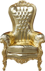 Casa Padrino Barock Damen Thron Sessel Majestic Medium Gold/ Gold Lederoptik  mit Bling Bling Glitzersteinen - Riesensessel - Thron Stuhl Tron