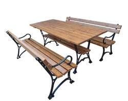 Casa Padrino Art Nouveau Garden Furniture Set Table and 2 Benches with Armrests Brown / Black 150 cm - Garden Furniture