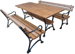 Casa Padrino Art Nouveau Garden Furniture Set Table and 2 Benches with Armrests Brown / Black 180 cm - Garden Furniture