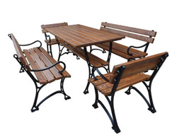 Casa Padrino Art Nouveau Garden Furniture Set Table 2 Benches 2 Chairs with Armrests Brown / Black 150 cm - Garden Furniture