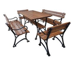 Casa Padrino Jugendstil Gartenmöbel Set Tisch 2 Sitzbänke 2 Stühle mit Armlehnen Braun / Schwarz 150 cm - Gartenmöbel
