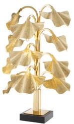 Casa Padrino Luxus Tischleuchte Messingfarben / Schwarz 55 x 38 x H. 88 cm - Designer Lampe mit Granitsockel