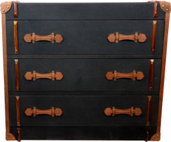 Casa Padrino Vintage Trunk Anthracite Canvas Dresser with Genuine Leather and Wood