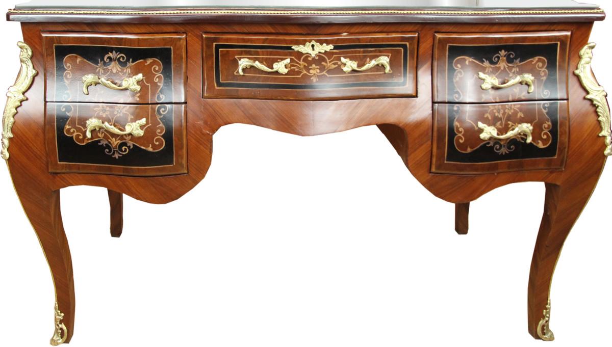 Casa Padrino Barock Sekretär Braun Intarsien 140 x 68 x H83 mit abnehmbarer Glasplatte und goldenen Beschlägen 1