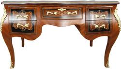Casa Padrino Barock Sekretär Braun Intarsien 140 x 68 x H83 mit abnehmbarer Glasplatte und goldenen Beschlägen