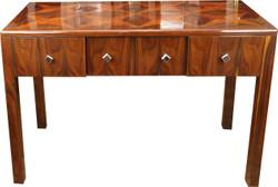 Casa Padrino Art Deco Sekretär Braun Intarsien 129 x 66 x H86 mit 3 Schubladen - Designer Schreibtisch