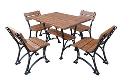 Casa Padrino Art Nouveau Garden Furniture Set Table & 4 Chairs Brown / Black 100 cm - Garden Furniture made of Cast Iron and Solid Alder Wood