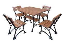 Casa Padrino Jugendstil Gartenmöbel Set Tisch & 4 Stühle Braun / Schwarz 100 cm - Gartenmöbel aus Gusseisen und massivem Erlenholz