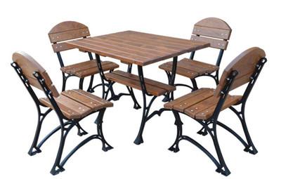 Casa Padrino Ensemble de Mobilier de Jardin Art Nouveau Table et 4 Chaises  Marron / Noir 100 cm - Qualité de Luxe