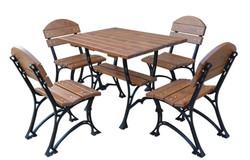 Casa Padrino Jugendstil Gartenmöbel Set Tisch & 4 Stühle Braun / Schwarz 100 cm - Luxus Qualität