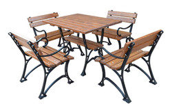 Casa Padrino Art Nouveau Garden Furniture Set Table & 4 Chairs with Armrests Brown / Black 100 cm - Garden Table and Garden Chairs