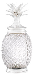 Casa Padrino luxury storage jar with lid in pineapple design silver Ø 16.5 x H. 36.5 cm - Designer Deco Accessories