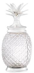 Casa Padrino Luxus Vorratsglas mit Deckel im Ananas Design Silber Ø 16,5 x H. 36,5 cm - Designer Deko Accessoires