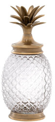 Casa Padrino luxury storage jar with lid in pineapple design vintage brass Ø 16.5 x H. 36.5 cm - Designer Deco Accessories