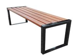Casa Padrino Luxus Gartenbank Braun / Schwarz 150 x 47 x H. 45 cm - Moderne Sitzbank ohne Lehne