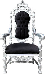 Casa Padrino Baroque Throne Armchair Black / Silver Royal Chair - Wedding Chair - Giant Armchair