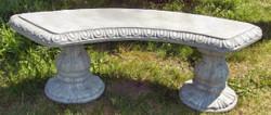 Casa Padrino Jugendstil Gartenbank / Parkbank Grau 138 x 45 x H. 48 cm - Gebogene Sitzbank mit wunderschönen Verzierungen - Gartenmöbel