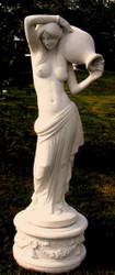 Casa Padrino Art Nouveau Gargoyle Sculpture Woman with Jug White Gray 44 x 33 x H. 120 cm - Garden Deco Figurine