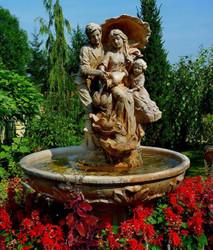 Casa Padrino Art Nouveau Garden Fountain Brown / Gray Ø 95 x H. 164 cm - Baroque & Art Nouveau Garden Decoration Fountain