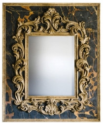 Casa Padrino Baroque Mirror Black / Gold 104.5 x H. 128 cm - Magnificent Handmade Wall Mirror with a Decorative Frame and Beautiful Decorations